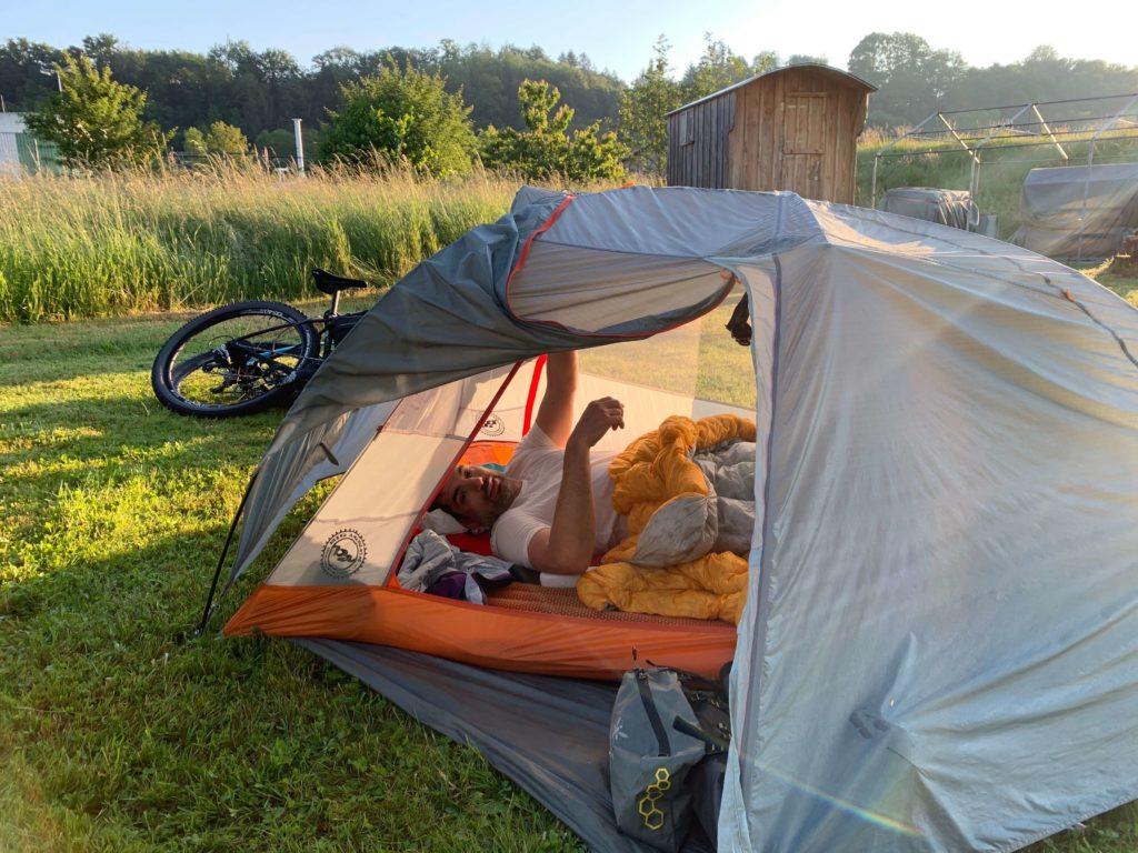 Bikepacking Transgermany Campingplatz Rhein